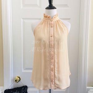 Vintage Style Button Down Lace Chiffon Blouse